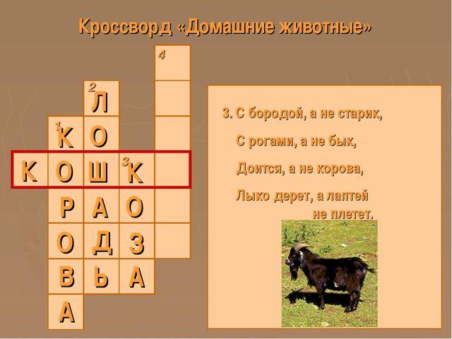 Кроссворд «Домашние животные» 1 2 3 4 К 3. С бородой, а не старик, С рогами,...