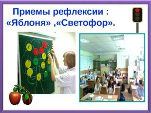 Приемы рефлексии : «Яблоня» ,«Светофор».