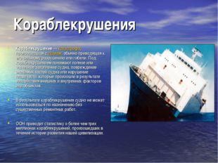Кораблекрушения Кораблекрушение— катастрофа, произошедшая с судном, обычно п