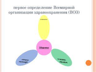 первое определение Всемирной организации здравоохранения (ВОЗ)