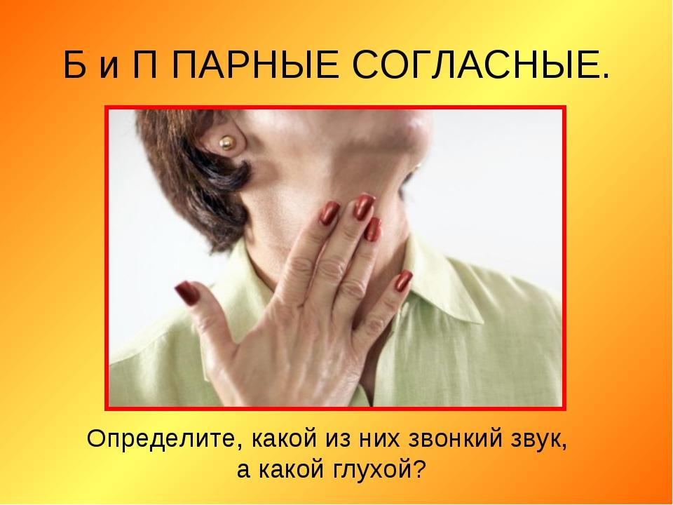Б и П ПАРНЫЕ СОГЛАСНЫЕ. Определите, какой из них звонкий звук, а какой глухой?
