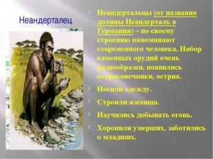 Неандерталец Неандертальцы (от названия долины Неандерталь в Германии) – по с
