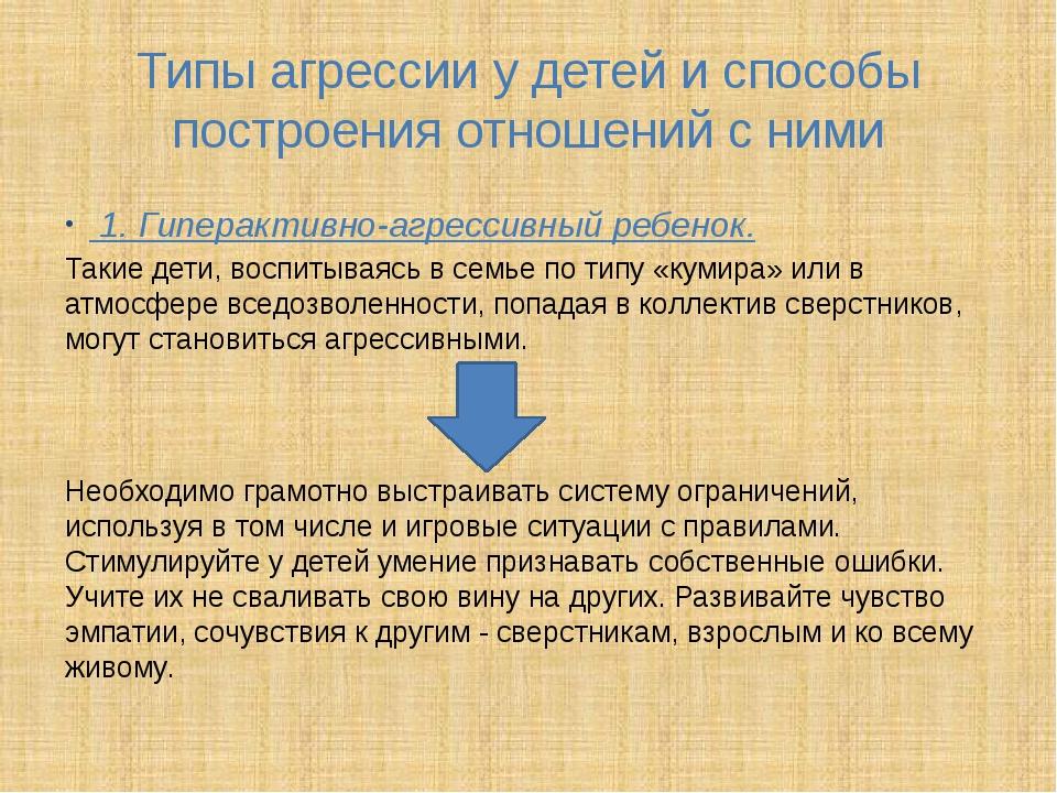 Типы агрессии у детей и способы построения отношений с ними 1. Гиперактивно-а...