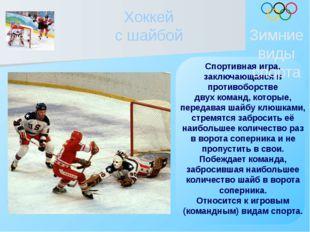 Хоккей с шайбой Спортивная игра, заключающаяся в противоборстве двух команд,