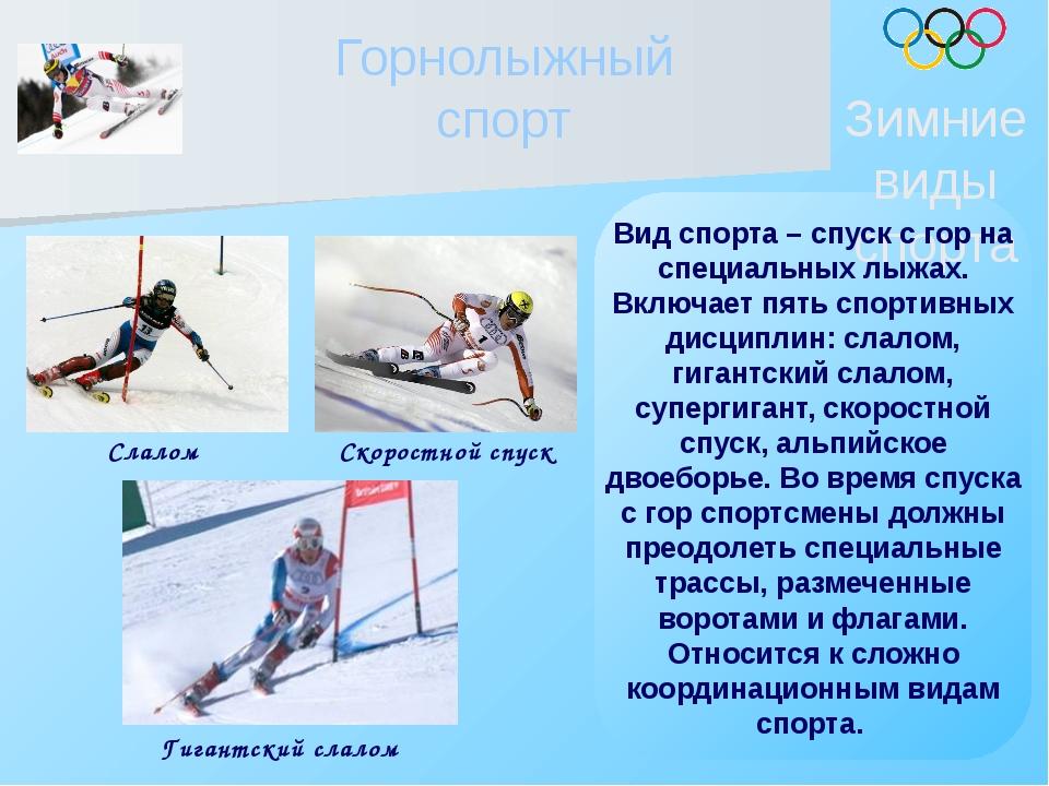 Горнолыжный спорт Зимние виды спорта Вид спорта – спуск с гор на специальных...