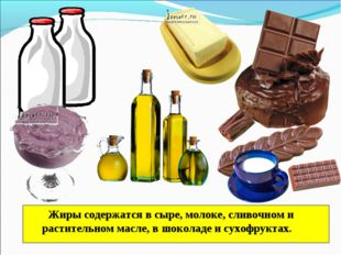 Жиры содержатся в сыре, молоке, сливочном и растительном масле, в шоколаде и