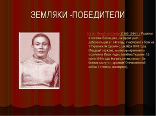 ЗЕМЛЯКИ -ПОБЕДИТЕЛИ Надер Иван Николаевич (1903-1944гг.). Родился в поселке В