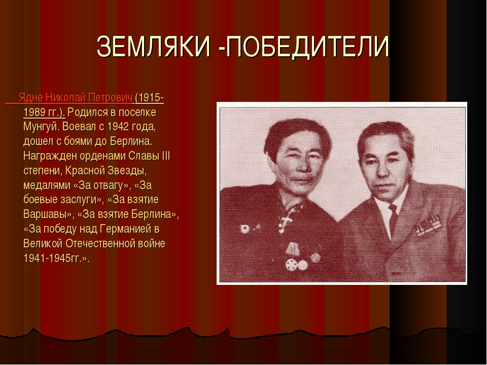 ЗЕМЛЯКИ -ПОБЕДИТЕЛИ Ядне Николай Петрович (1915-1989 гг.). Родился в поселке...