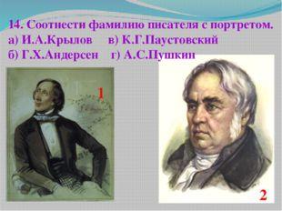 14. Соотнести фамилию писателя с портретом. а) И.А.Крылов в) К.Г.Паустовский