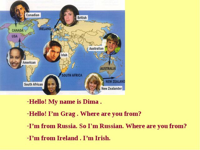 Hello! My name is Dima . Hello! I'm Grag . Where are you from? I'm from Russi...