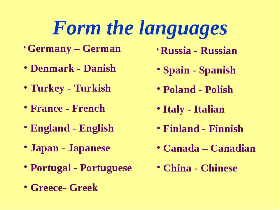 Form the languages Germany – German Denmark - Danish Turkey - Turkish France...