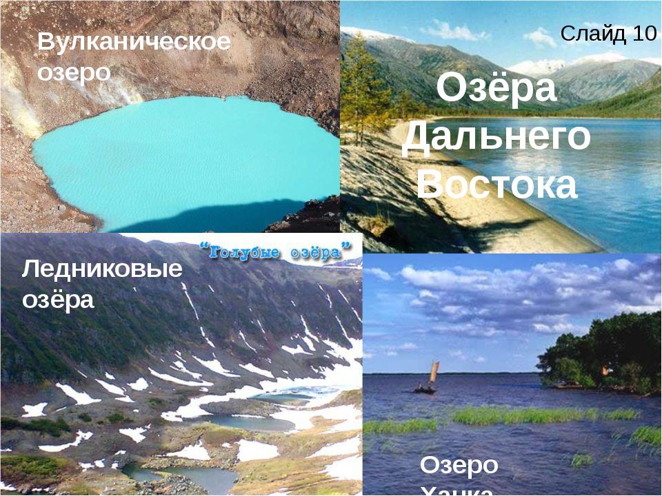 Озёра Дальнего Востока Озеро Ханка Вулканическое озеро Ледниковые озёра Слайд...