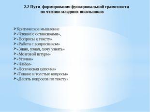 2.2 Пути формирования функциональной грамотности по чтению младших школьников