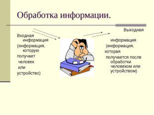 Обработка информации. Входная информация (информация, которую получает челове