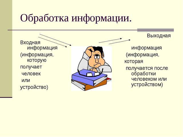 Обработка информации. Входная информация (информация, которую получает челове...