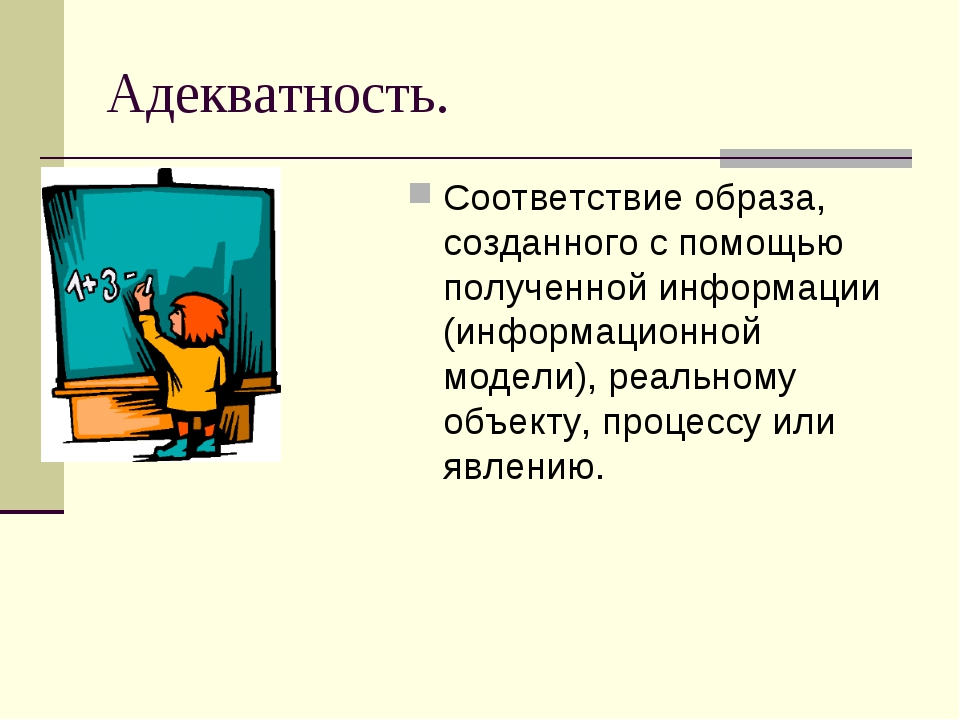 Адекватность. Соответствие образа, созданного с помощью полученной информации...
