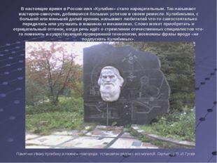 В настоящее время в России имя «Кулибин» стало нарицательным. Так называют ма