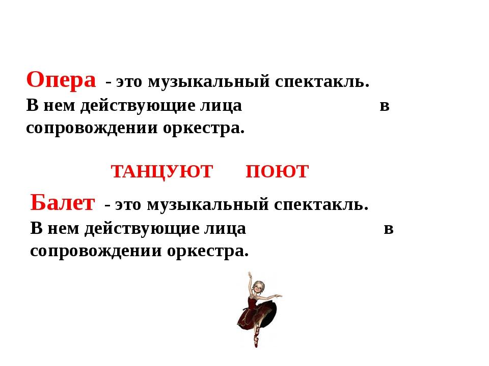 Опера - это музыкальный спектакль. В нем действующие лица в сопровождении орк...