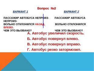 ВАРИАНТ 1 ВАРИАНТ 2 ПАССАЖИР АВТОБУСА НЕПРОИЗ- ПАССАЖИР АВТОБУСА НЕПРОИЗ- ВО