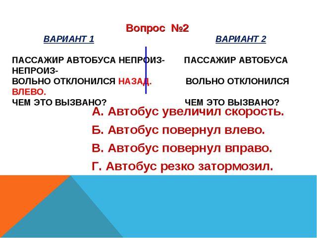 ВАРИАНТ 1 ВАРИАНТ 2 ПАССАЖИР АВТОБУСА НЕПРОИЗ- ПАССАЖИР АВТОБУСА НЕПРОИЗ- ВО...