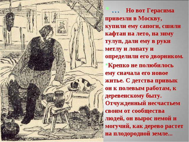 … Но вот Герасима привезли в Москву, купили ему сапоги, сшили кафтан на лето...