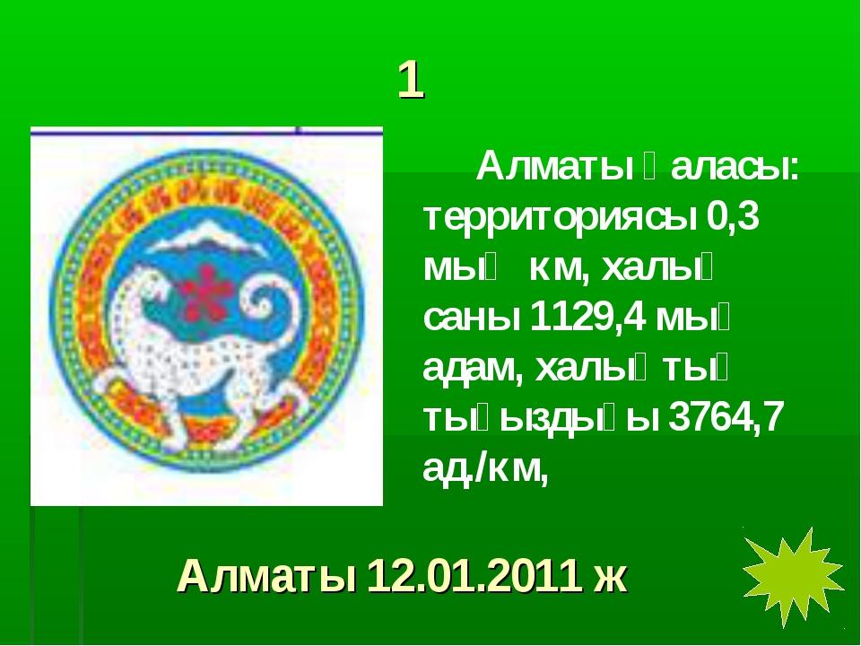 1 Алматы қаласы: территориясы 0,3 мың км, халық саны 1129,4 мың адам, халықт...