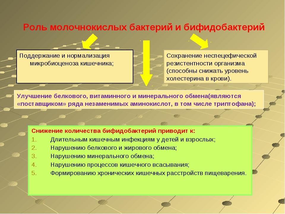 Роль молочнокислых бактерий и бифидобактерий Снижение количества бифидобакте...