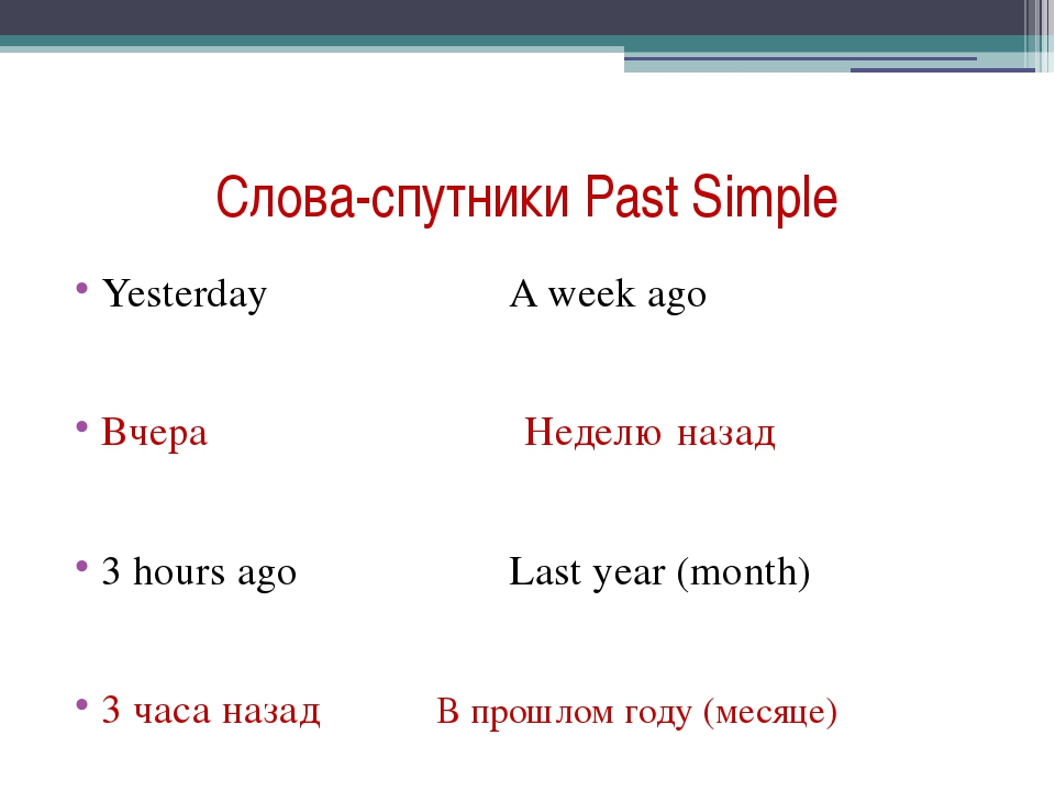 Слова-спутники Past Simple Yesterday A week ago Вчера Неделю назад 3 hours ag...