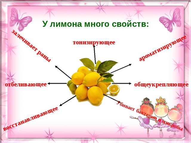 У лимона много свойств: залечивает раны восстанавливающее Убивает бактерии и...