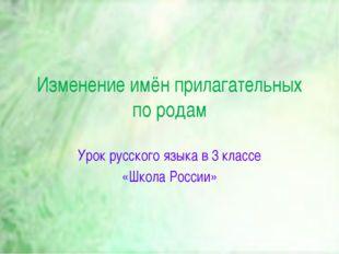 Изменение имён прилагательных по родам Урок русского языка в 3 классе «Школ