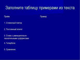 Заполните таблицу примерами из текста ПриёмПример 1. Словесный повтор 2. По