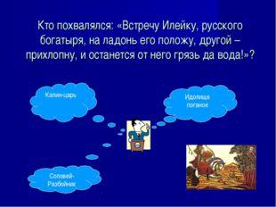 Кто похвалялся: «Встречу Илейку, русского богатыря, на ладонь его положу, дру