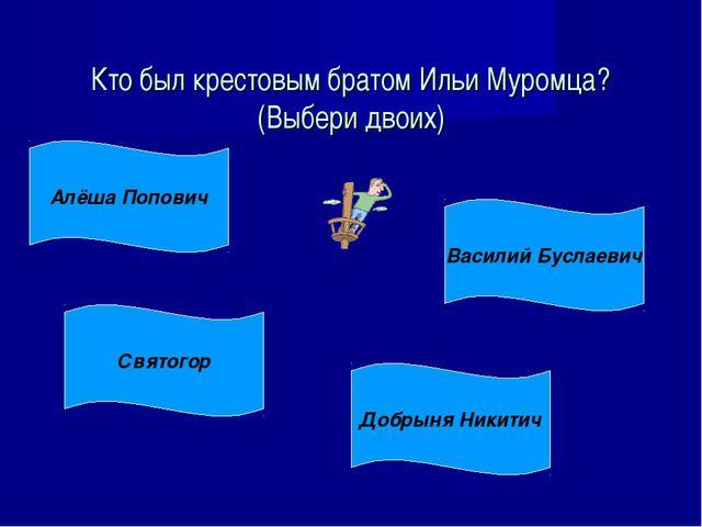 Кто был крестовым братом Ильи Муромца? (Выбери двоих) Алёша Попович Святогор...