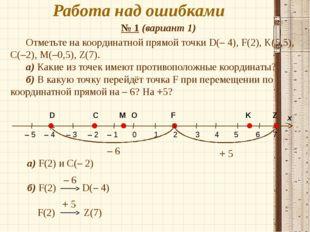 Работа над ошибками № 1 (вариант 1) а) F(2) и C(– 2) б) F(2) D(– 4) F(2) Z(7)