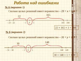 Работа над ошибками № 6 (вариант 1) 165 166 – 22 – 23 – 1 0 1 22 165 22 + 165