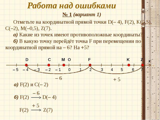 Работа над ошибками № 1 (вариант 1) а) F(2) и C(– 2) б) F(2) D(– 4) F(2) Z(7)...