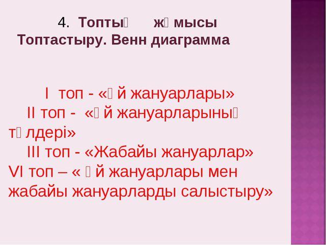 4. Топтық жұмысы Топтастыру. Венн диаграмма І топ - «Үй жануарлары» ІІ топ -...