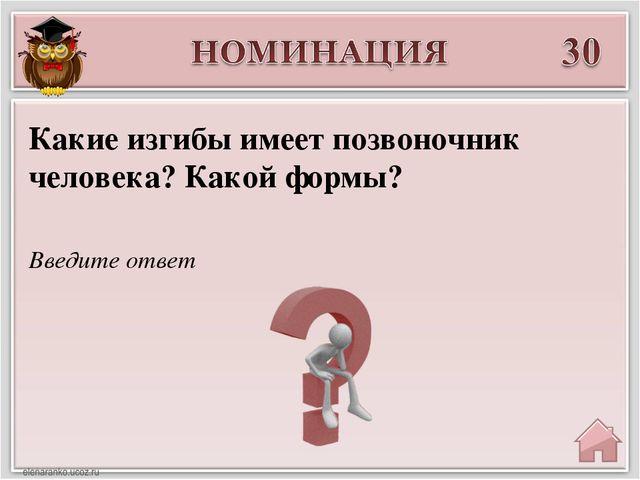 Введите ответ Какие изгибы имеет позвоночник человека? Какой формы?