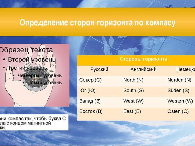 Определение сторон горизонта по компасу Стороны горизонта Русский Английский...