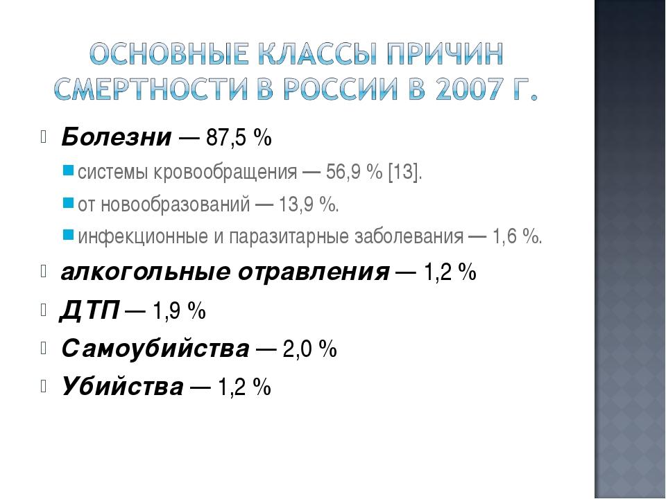 Болезни — 87,5 % системы кровообращения — 56,9 % [13]. от новообразований — 1...