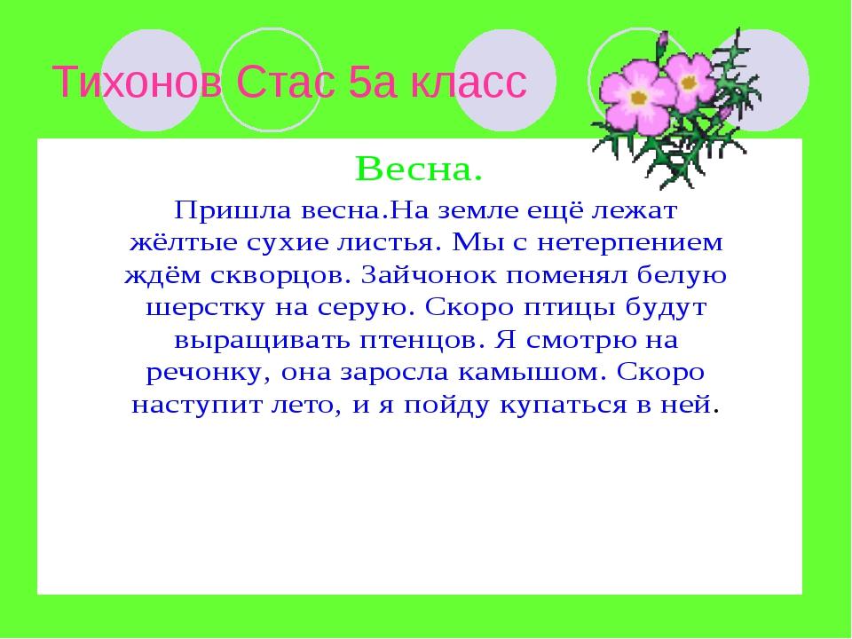 Тихонов Стас 5а класс