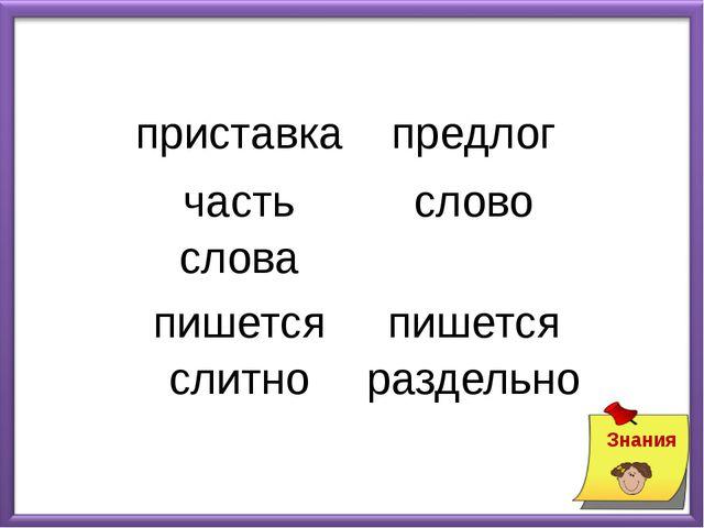 Знания приставка предлог часть слова слово пишется слитно пишется раздельно
