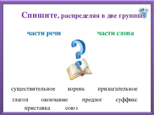 Спишите, распределяя в две группы: части речи части слова существительное кор...