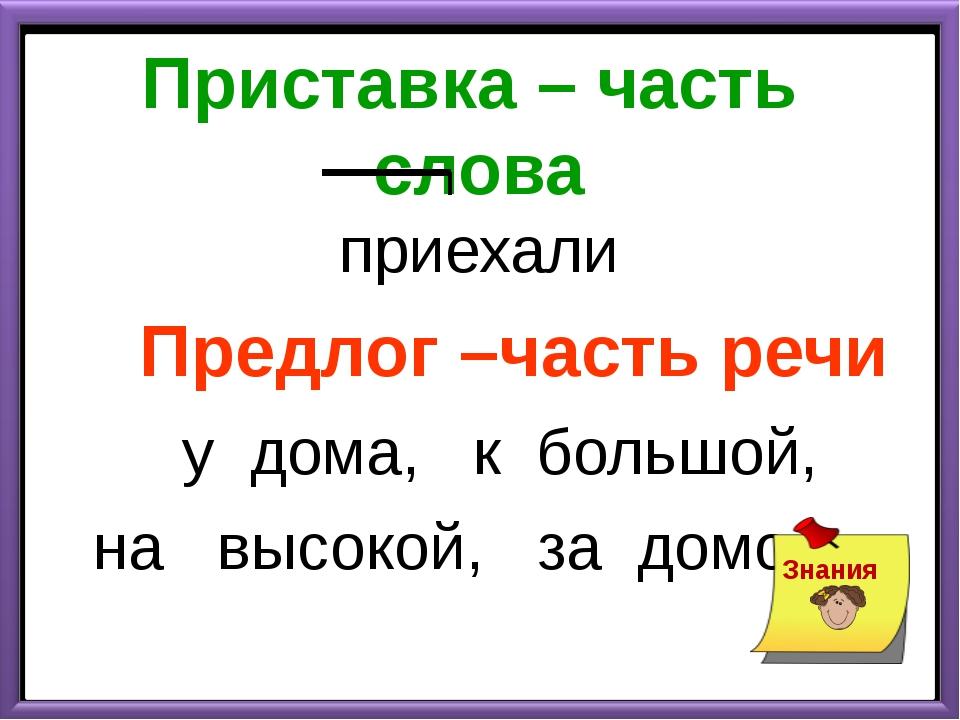 Приставка – часть слова приехали Предлог –часть речи у дома, к большой, на вы...