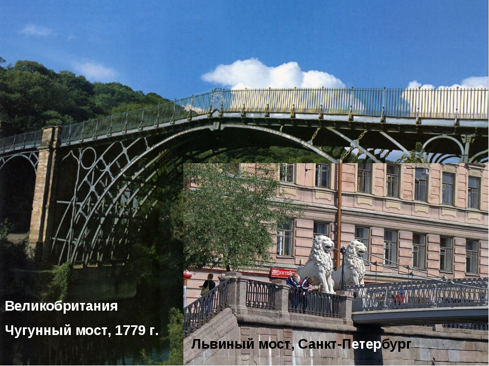 Великобритания Чугунный мост, 1779 г. Львиный мост, Санкт-Петербург