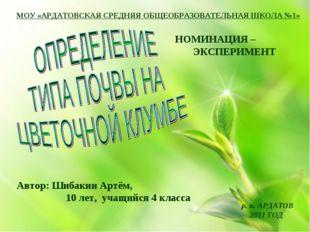 МОУ «АРДАТОВСКАЯ СРЕДНЯЯ ОБЩЕОБРАЗОВАТЕЛЬНАЯ ШКОЛА №1» Автор: Шибакин Артём,