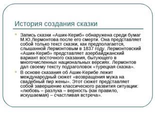 История создания сказки Запись сказки «Ашик-Кериб» обнаружена среди бумаг М.Ю