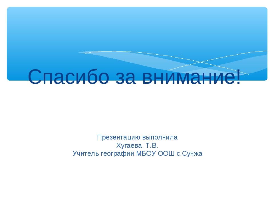 Спасибо за внимание! Презентацию выполнила Хугаева Т.В. Учитель географии МБО...