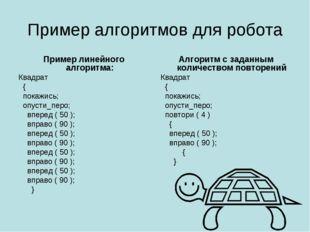 Пример алгоритмов для робота Пример линейного алгоритма: Квадрат  { покажись