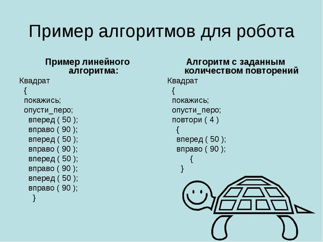 Пример алгоритмов для робота Пример линейного алгоритма: Квадрат  { покажись...